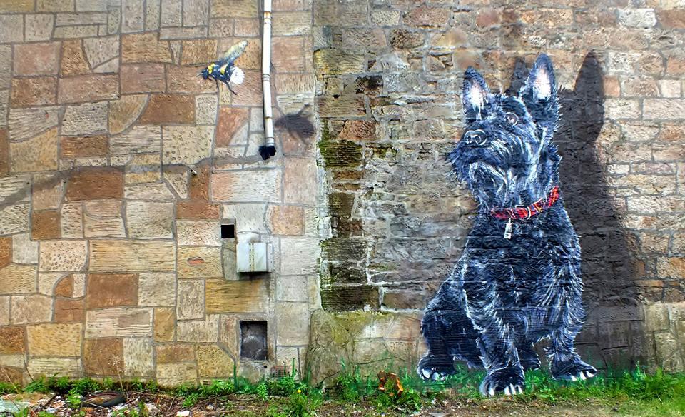 Scotty dog and bee street art