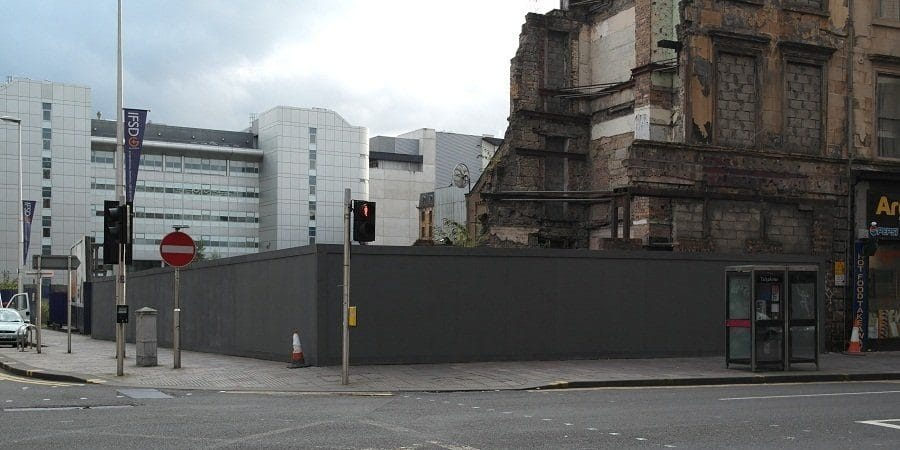 Empty hoarding Glasgow