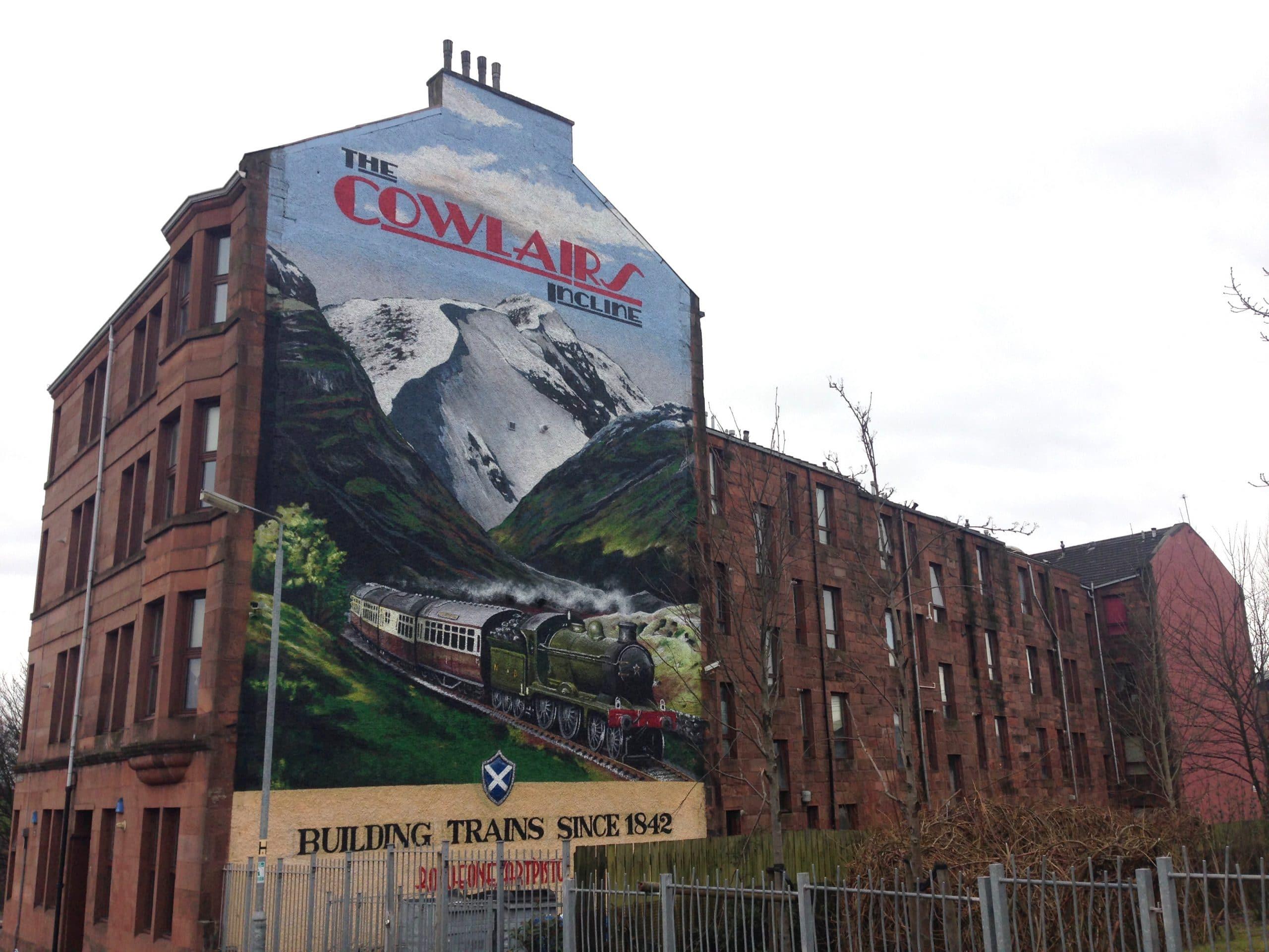 Cowlairs incline train mural Glasgow