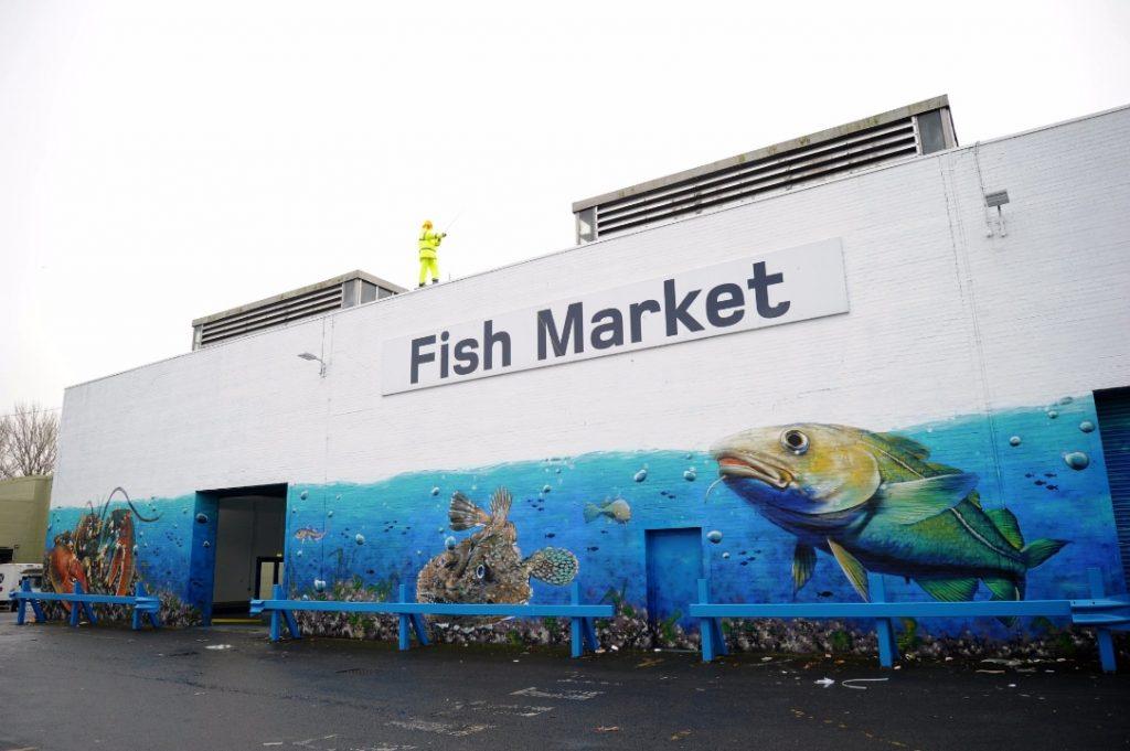 Fish Market mural Blochairn Glasgow