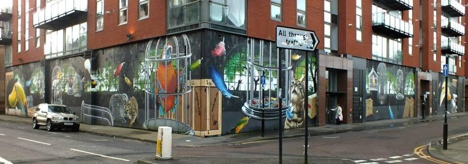 Street art on shopfronts Glasgow