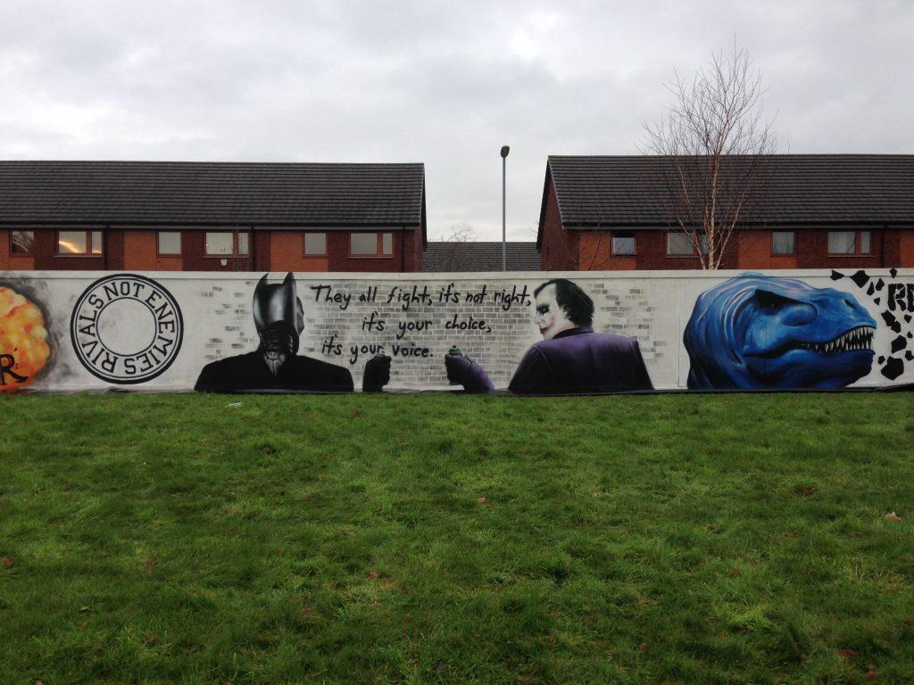 Batman and Joker mural East End Glasgow