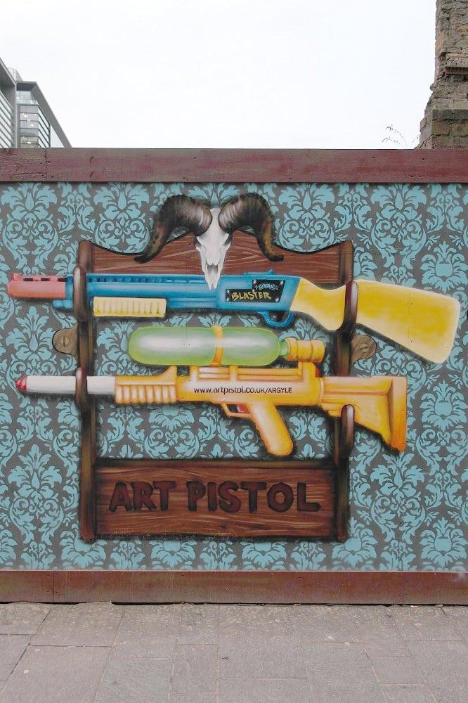 Water pistol mural art