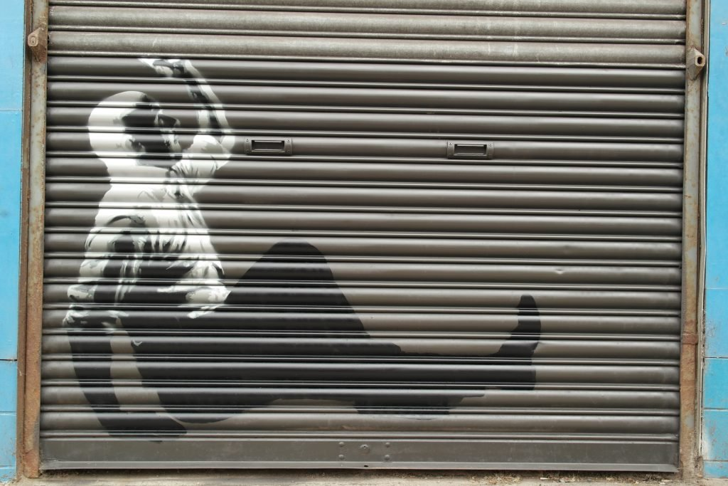Stencil art on shutters