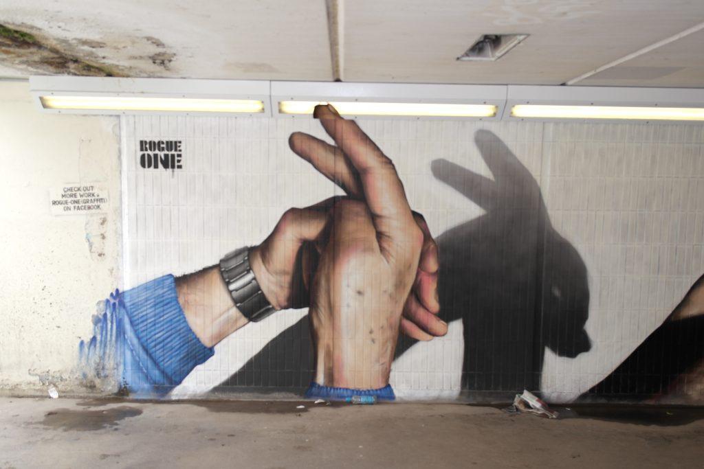 Rabbit hand shadow puppet