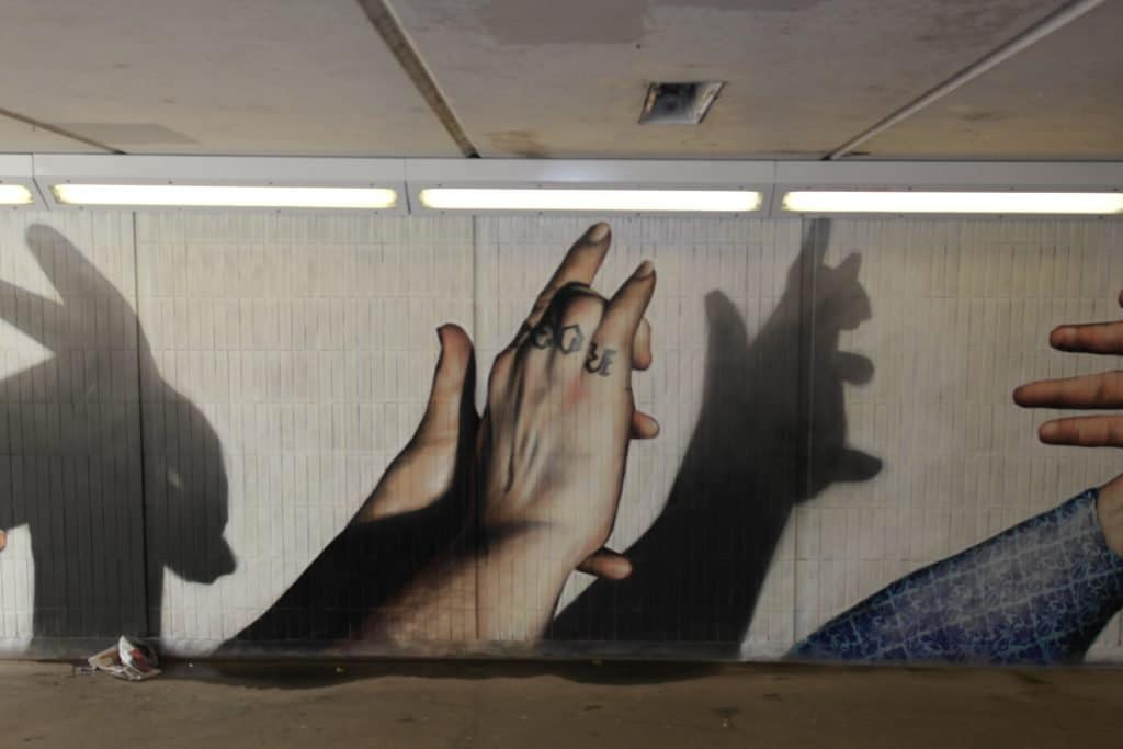 Squirrel shadow street art