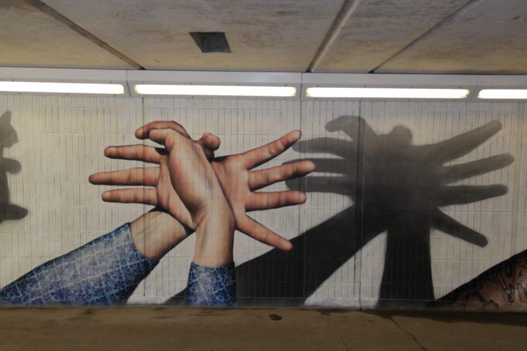 Spider hands street art