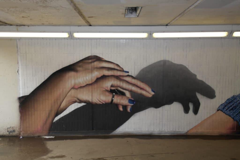 Turtle shadow street art