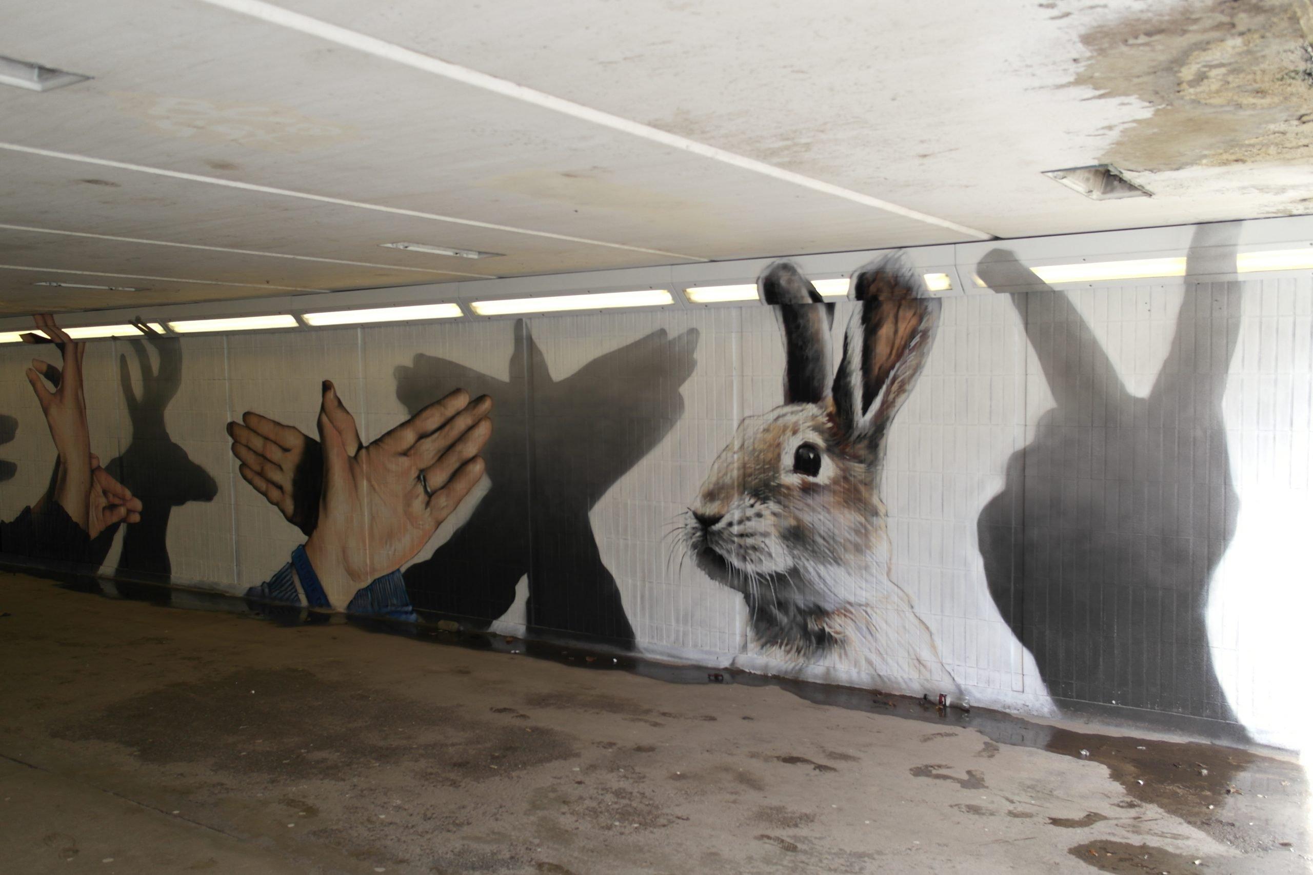 Hand shadow puppets street art Scotland