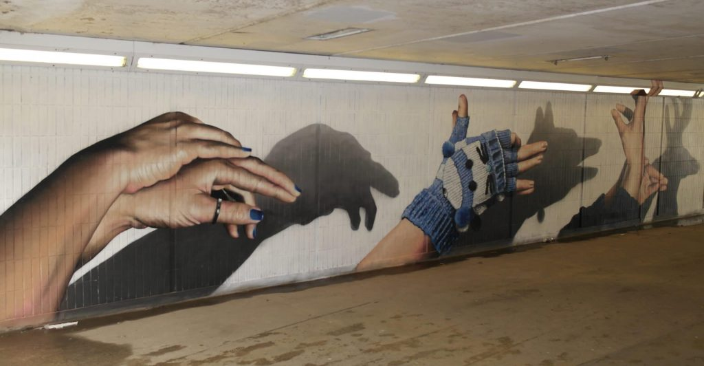 Hand shadow puppets mural Glasgow
