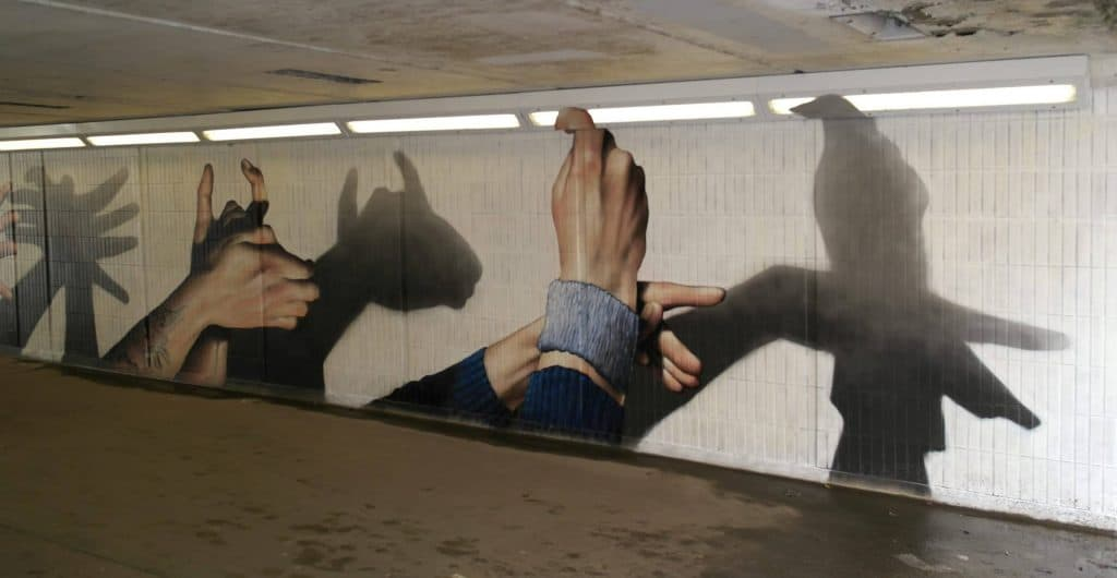 Hand shadow street art Scotland