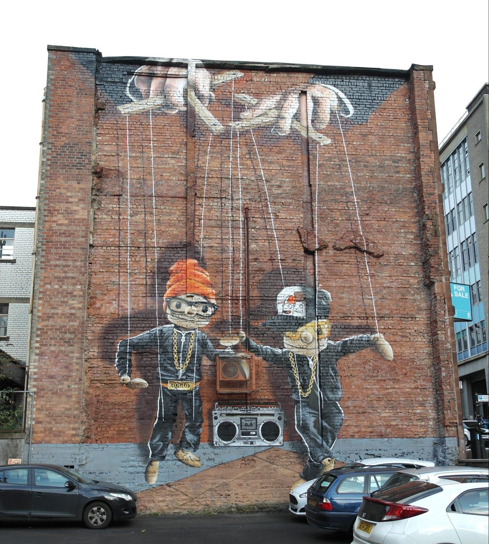 Hip hop marionettes mural