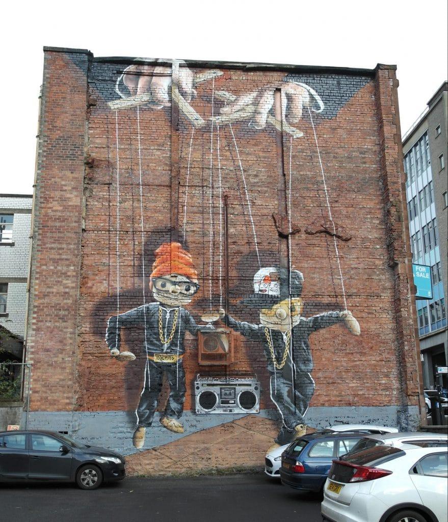 Puppet mural street art Glasgow