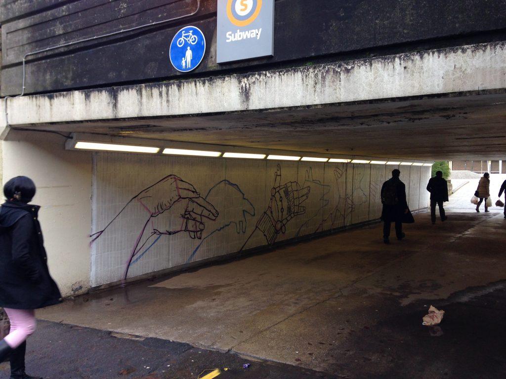 Cowcaddens mural in progress