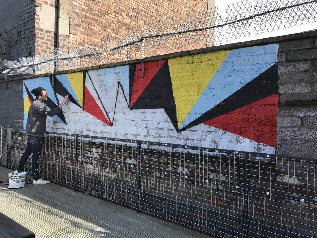 abstract geometric street art