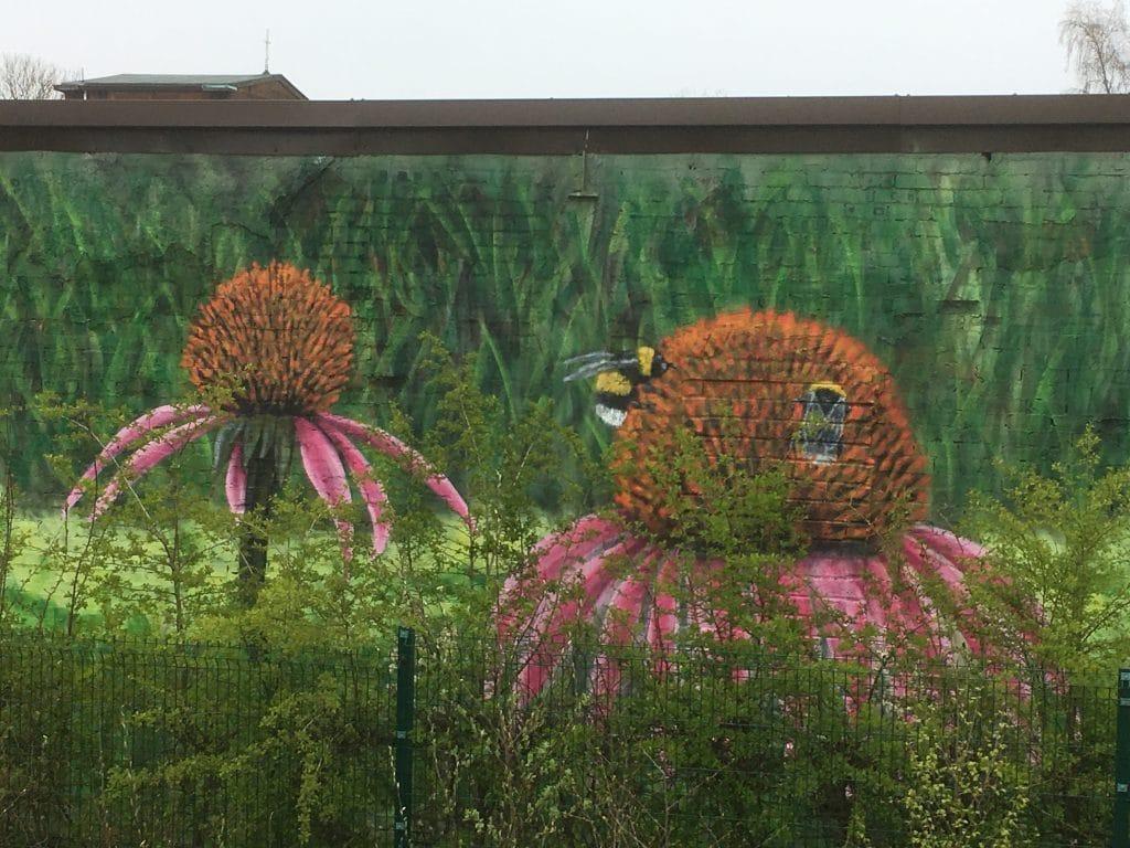 bees on flower mural