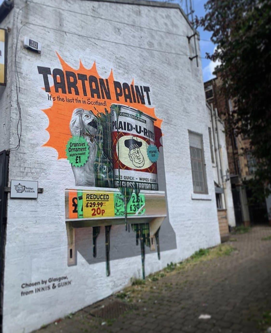 tartan paint mural Glasgow west end