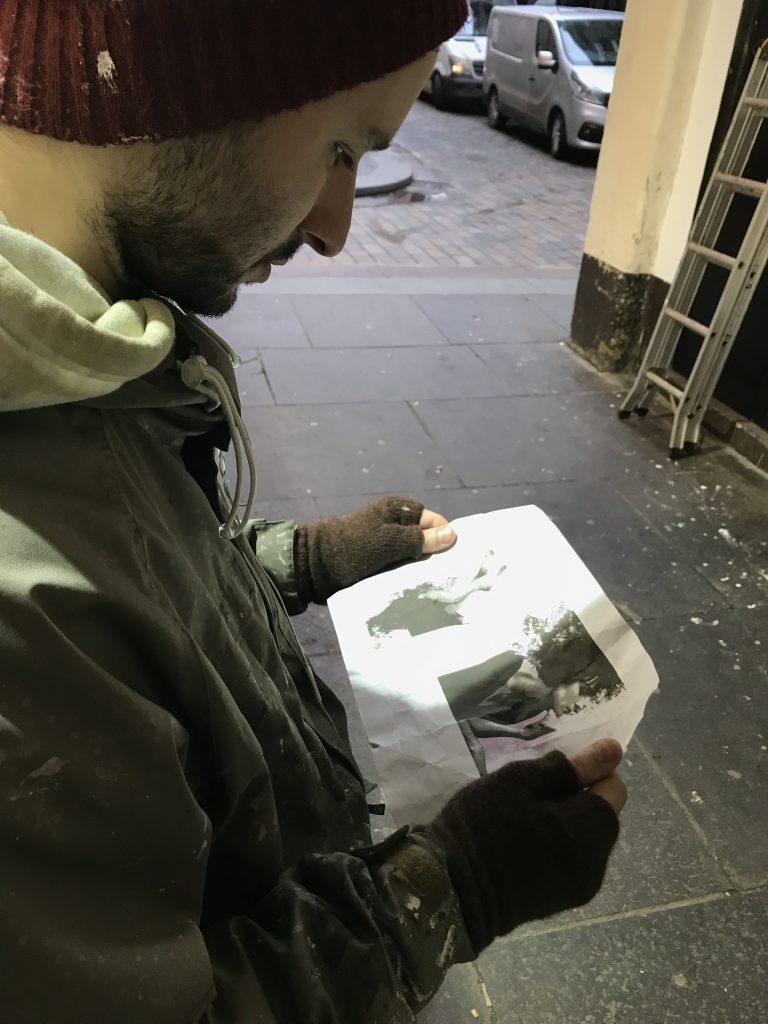 James Klinge painting in progress