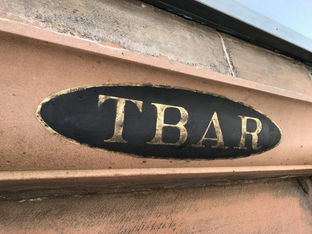 T Bar sign writing Ayr