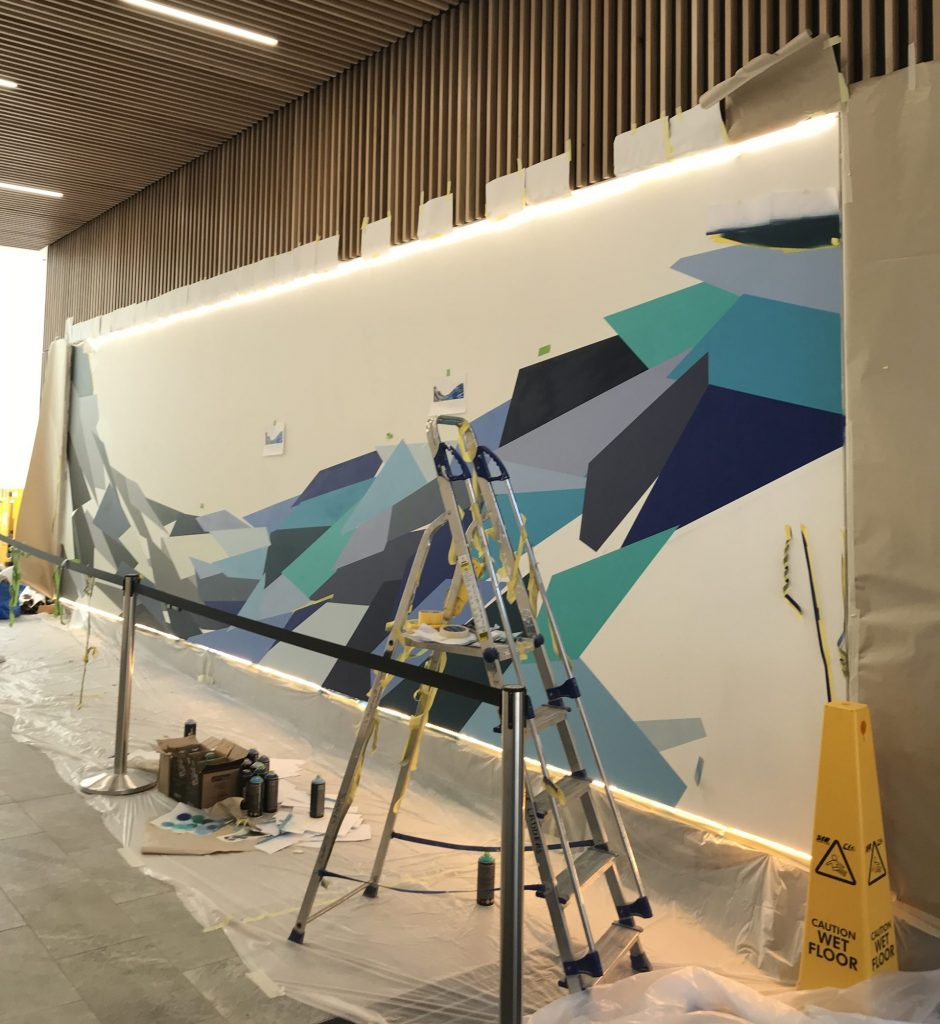 geometric mural in progress