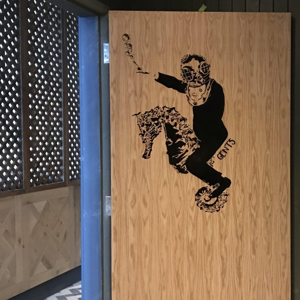 stencil art toilet doors Scotland