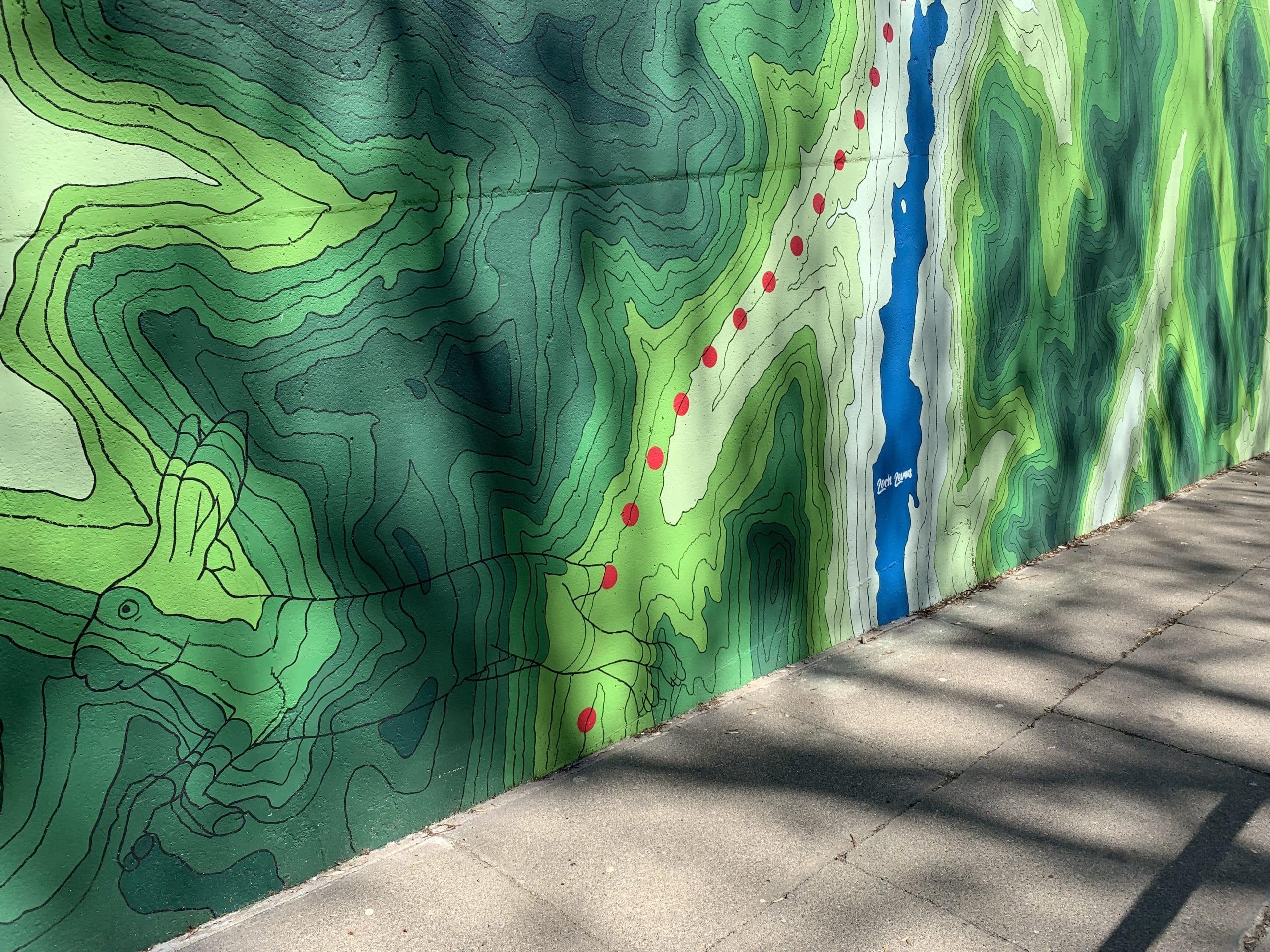 running hare mural detail