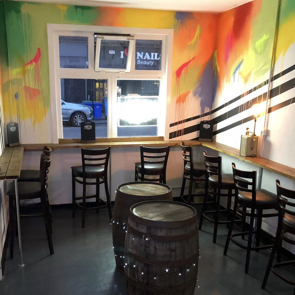 neon street art bar interior